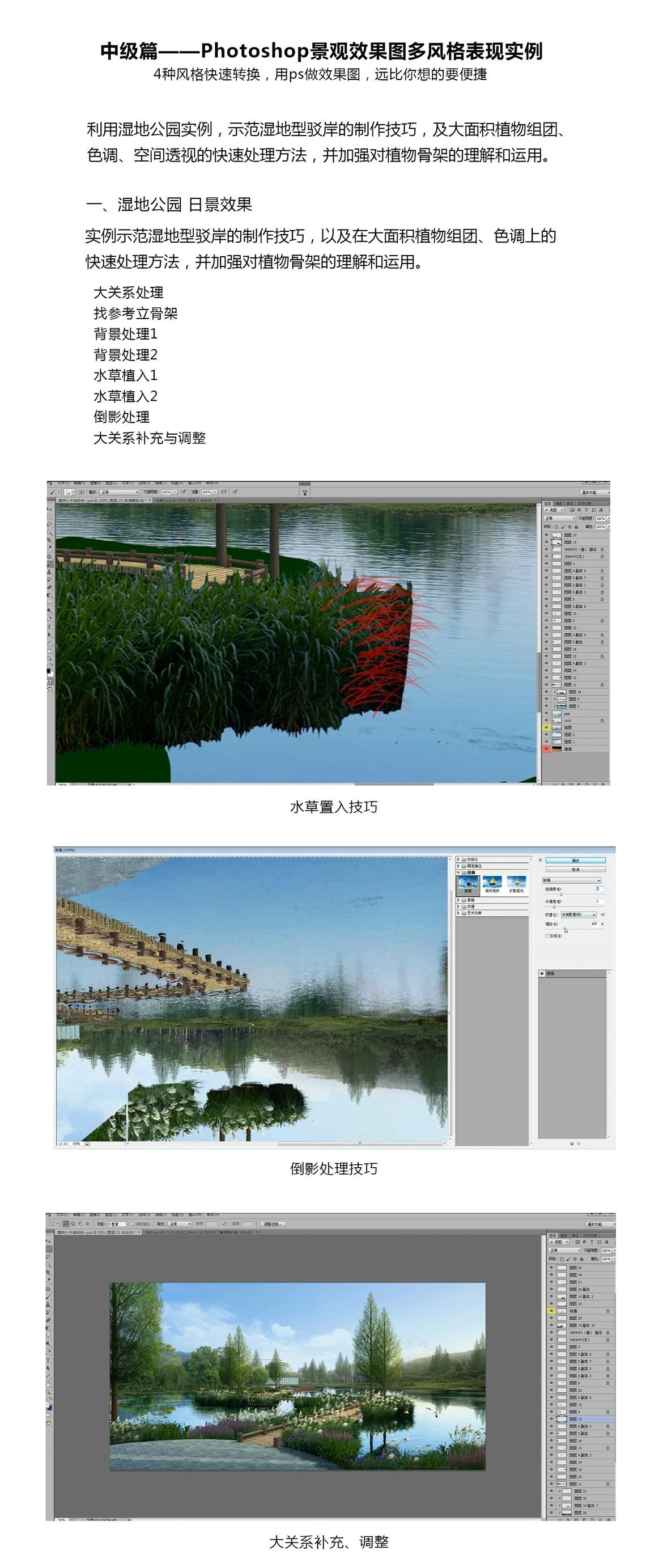 湿地公园,日景效果,Photoshop景观效果图,景观效果图表现,ps景观效果图