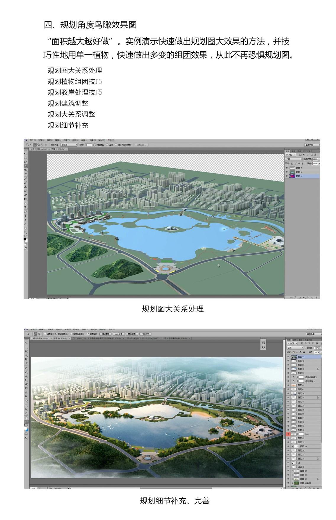 规划角度,鸟瞰效果图,Photoshop景观效果图,景观效果图表现,ps景观效果图