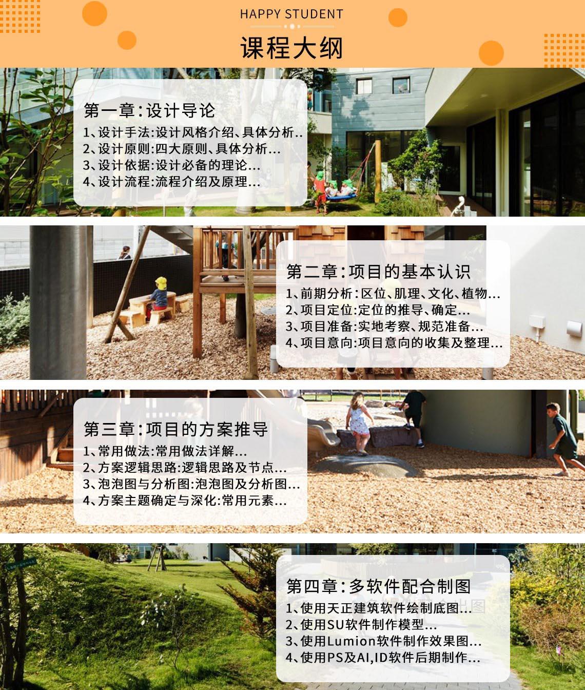 儿童景观设计,幼儿园景观设计,景观方案设计教程,儿童景观效果图软件教程大纲