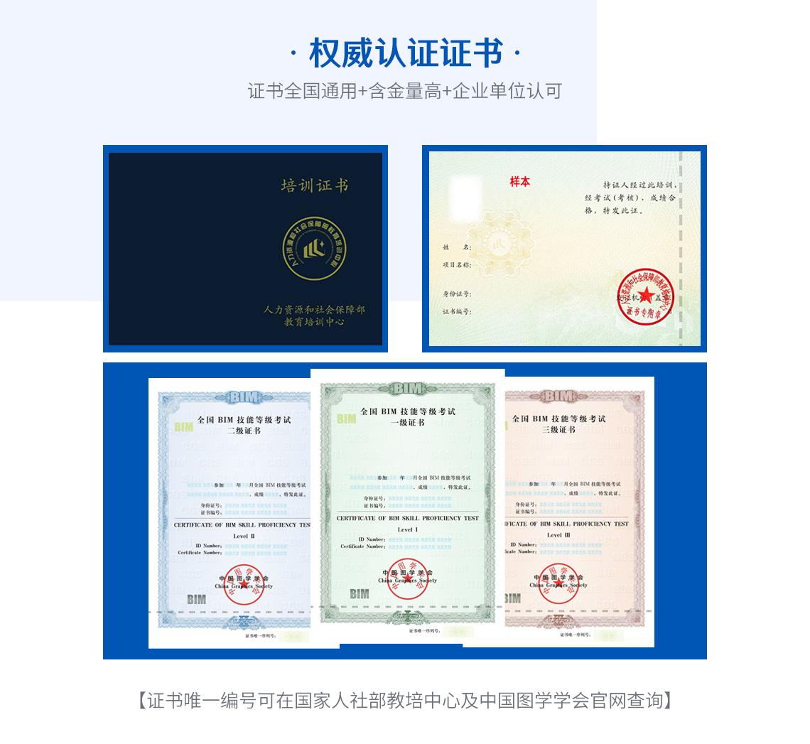 全国BIM技能等级考试证书样式,颁发人社部教培中心BIM一级证书以及中国图学学会全国BIM等级证书。