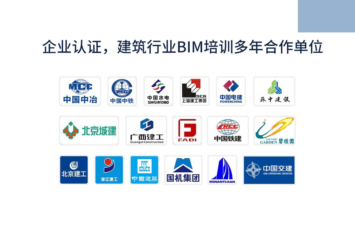企业认证,建筑行业BIM培训多年合作单位