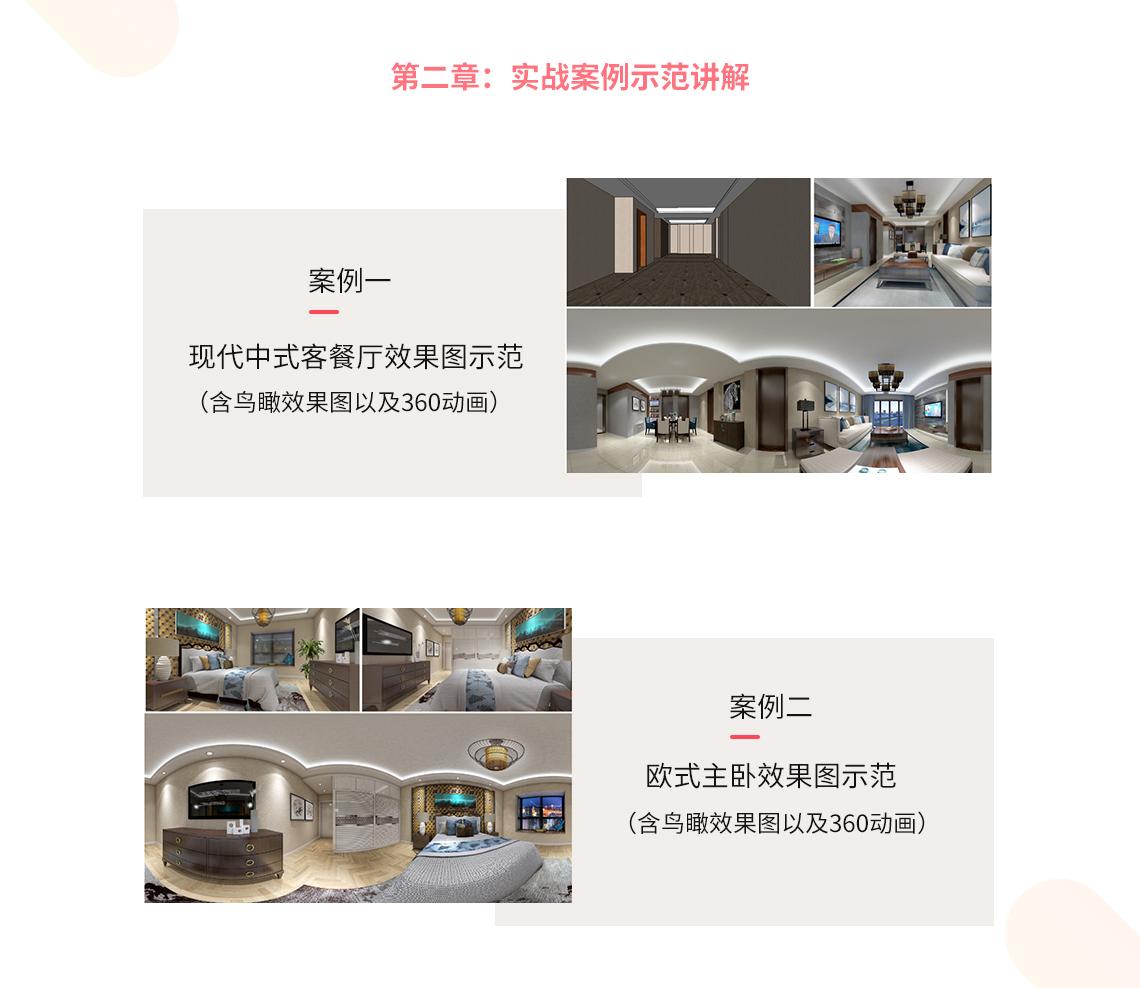 课程内容2,Sketchup,室内效果图设计,室内前期方案设计,Vray渲染器,360全景制作