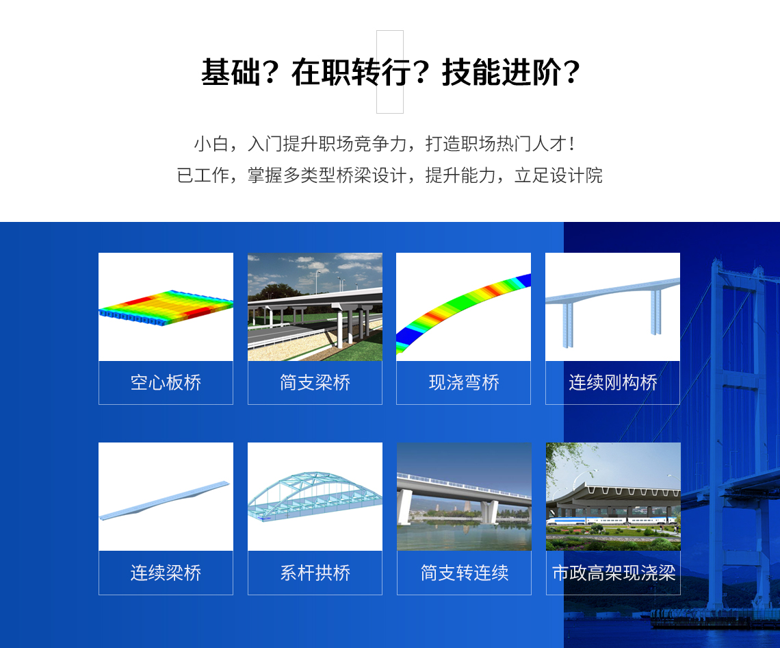 本课程包括桥梁设计计算、七类常规桥梁桥梁博士软件进行计算建模,迈达斯建模教程进行现浇弯桥、连续梁桥、空心板桥等设计建模,对完全掌握桥梁设计计算非常有帮助。