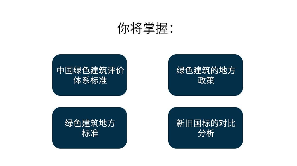 参加本课程,你将收获:了解中国绿色建筑评价体系标准;绿色建筑的地方政策;绿色建筑地方标准;新旧国标的对比分析;学会绿色建筑评估。