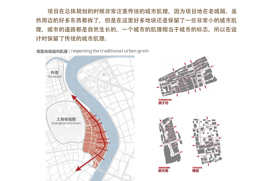 项目在总体规划的时候非常注重传统的城市肌理,因为项目地在老城厢,虽然周边的好多东西都拆了,但是在这里好多地块还是保留了一些非常小的城市肌理,城市的道路都是自然生长的,一个城市的肌理相当于城市的标志。 城市综合发展空间,城市文脉的延续,建筑立面空间改造,城市商业空间改造,地域材料市集