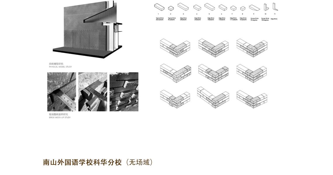 在砖幕墙的设计上也是花了很多心思,在砖墙转角处一共有九种不同的转角方式,砖的类型也是多种多样,有凸出砖、平砖、镂空砖等等。所有砖凸起的尺寸、砖缝的填充剂到表面的距离等都经过严密考量。  工业性到城市性 ,地景建筑设计 ,工业性到城市性 ,地景建筑设计