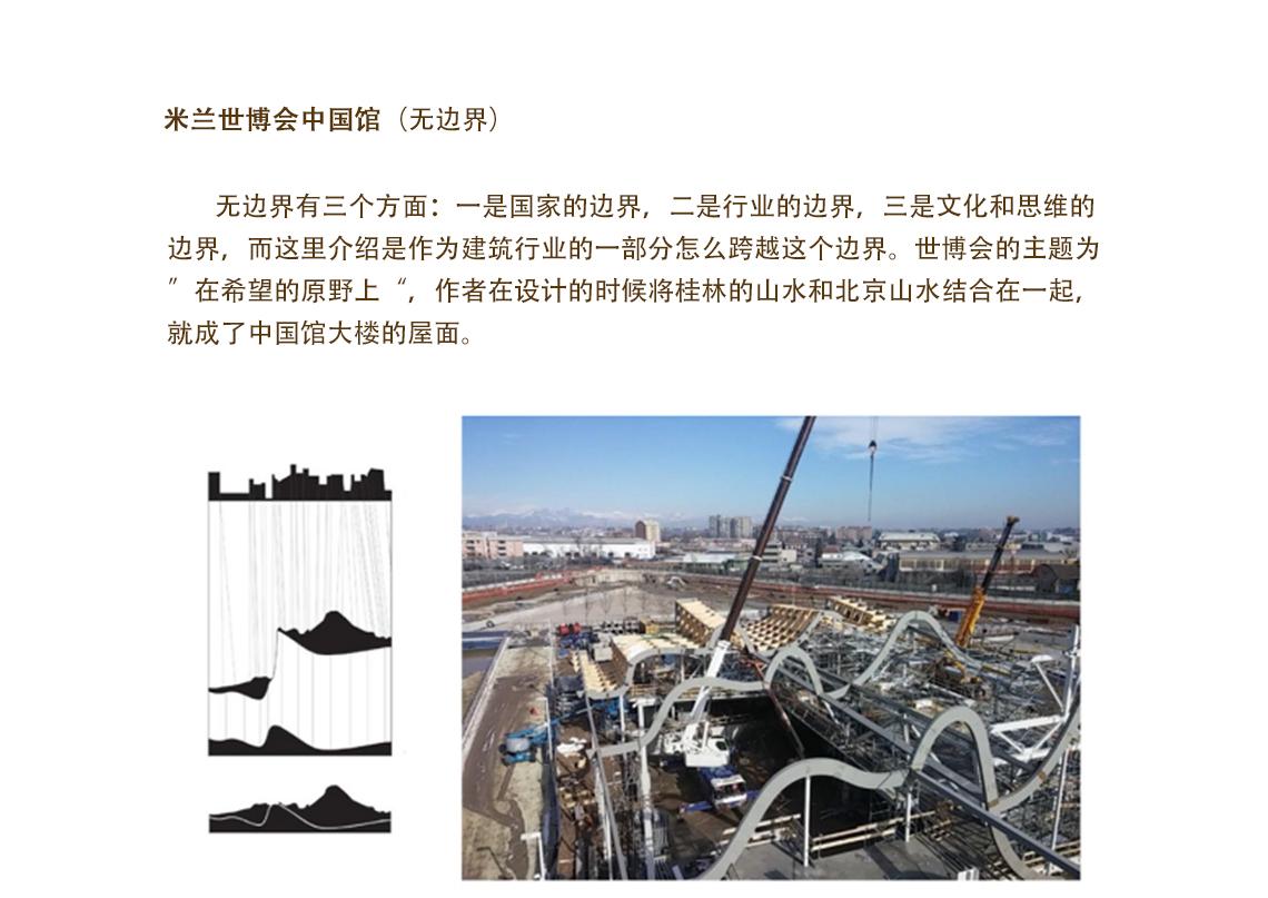 无边界有三个方面一是国家的边界,二是行业的边界,三是文化和思维的边界,而这里更多的介绍的是作为建筑行业的一部分,怎么跨越这个边界。世博会的主题为在希望的原野上,作者在设计的时候将桂林的山水和北京山水结合在一起,就成了中国馆大楼的屋面。  工业性到城市性 ,地景建筑设计 ,工业性到城市性 ,地景建筑设计