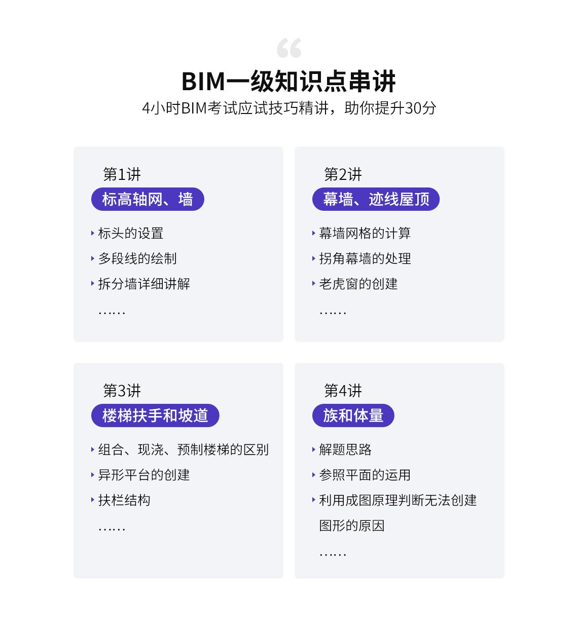 BIM一级知识点串讲,详细介绍每一堂直播课讲解内容,罗列知识点,帮助学员一次通过全国BIM等级考试,考取证书