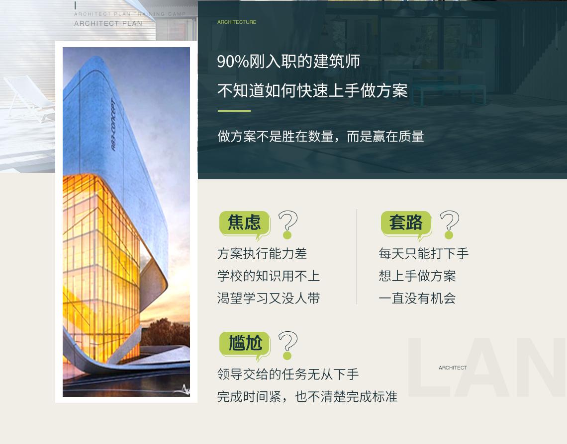 解决建筑新人在做建筑方案设计时对建筑总平面图设计布置无从下手,经济技术指标不会计算,不理解建筑方案设计要点的难题