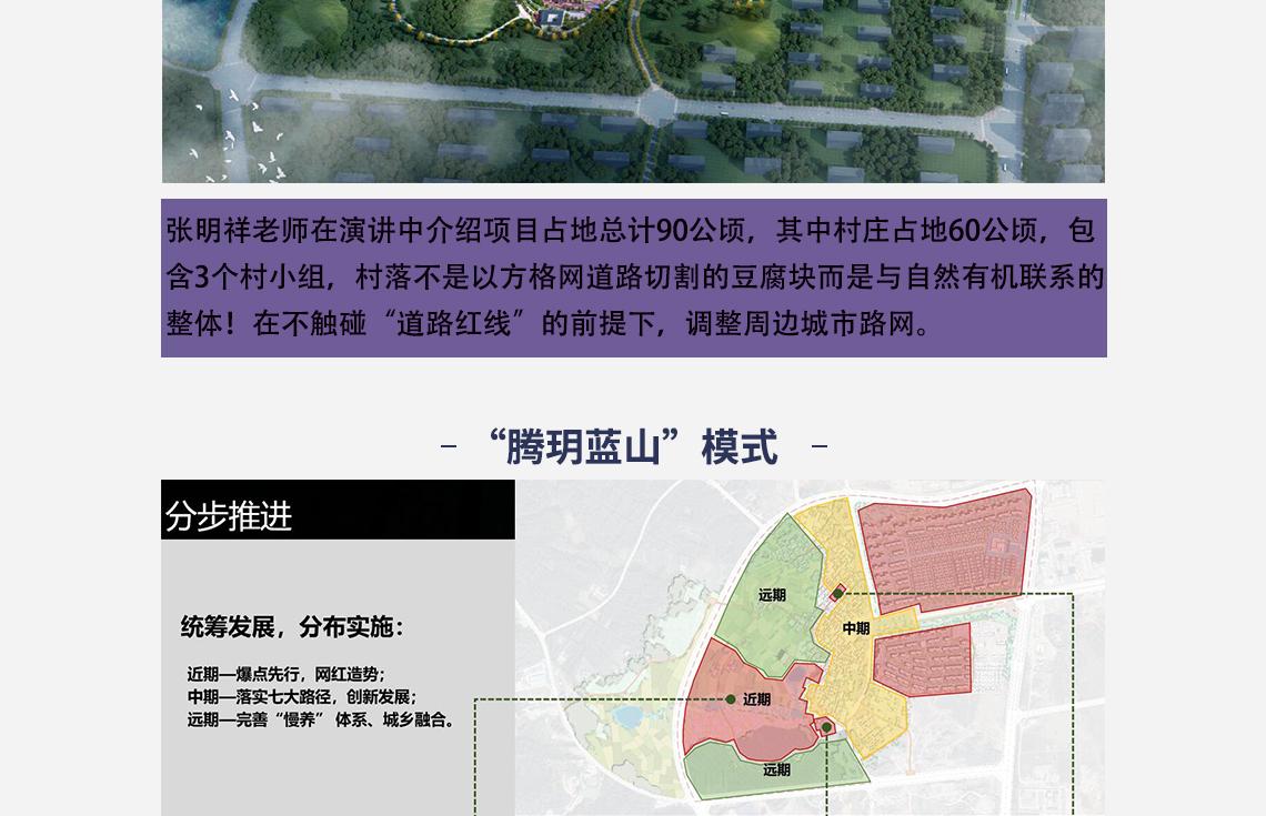"""张明祥老师在演讲中介绍项目占地总计90公顷,其中村庄占地60公顷,包 含3个村小组,村落不是以方格网道路切割的豆腐块而是与自然有机联系的 整体!在不触碰""""道路红线""""的前提下,调整周边城市路网。   传统村落与城镇化现状,乡村振兴建设形势,腾玥蓝山""""模式"""