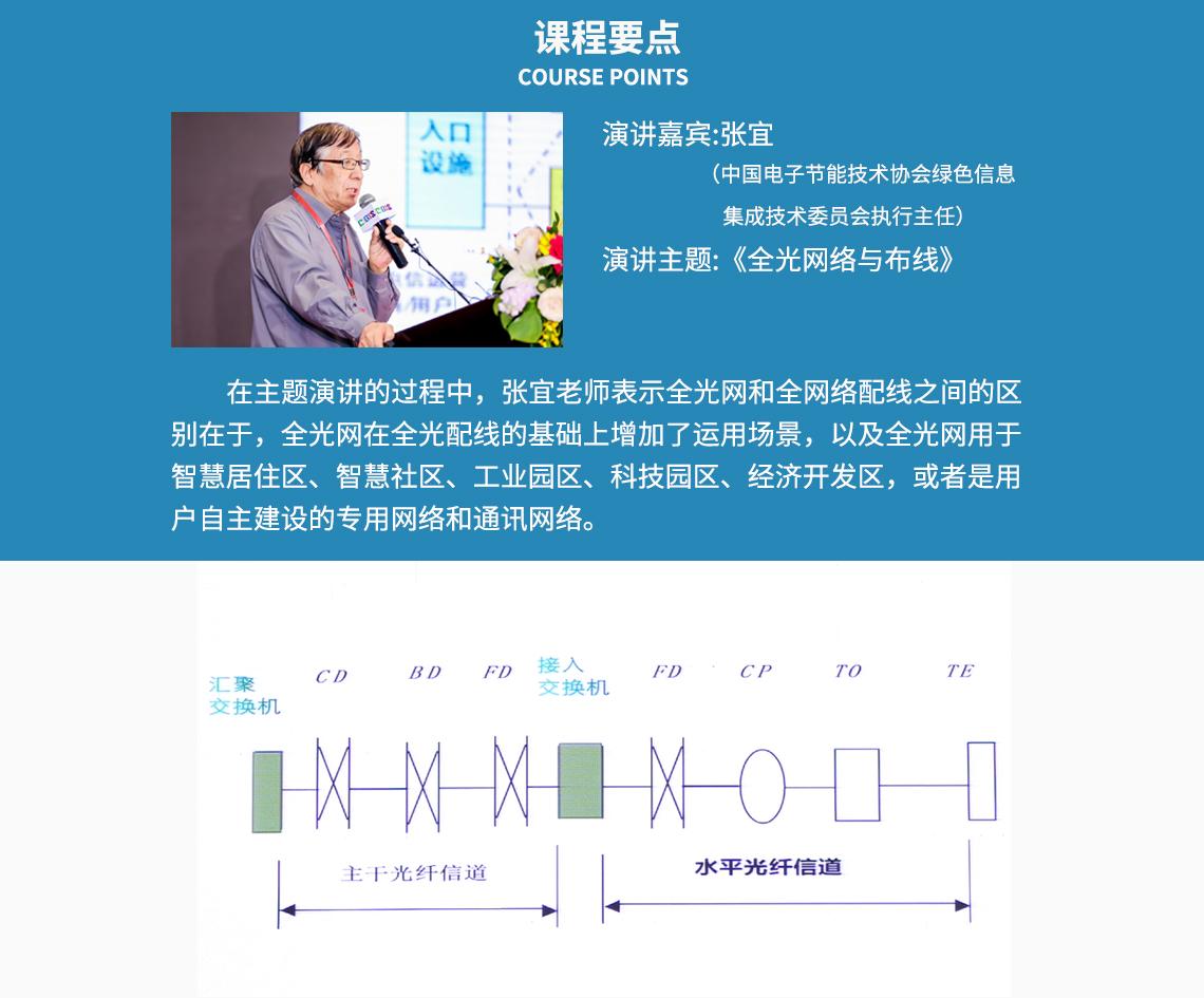 课程要点 COURSE POINTS 演讲嘉宾:张宜 (中国电子节能技术协会绿色信息集成技术委员会执行主任) 演讲主题:《全光网络与布线》 在主题演讲的过程中,张宜老师表示全光网和全网络配线之间的区 别在于,全光网在全光配线的基础上增加了运用场景,以及全光网用于 智慧居住区、智慧社区、工业园区、科技园区、经济开发区,或者是用 户自主建设的专用网络和通讯网络。  seo关键字:布线系统管理,网络布线系统,预端接的系统,智慧类型社区,智类型能家居