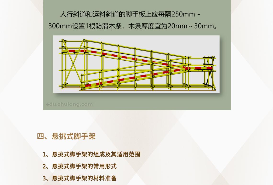 外脚手架方案,落地式外脚手架,悬挑式外脚手架,附着式外脚手架  四、悬挑式脚手架 1、悬挑式脚手架的组成及其适用范围 2、悬挑式脚手架的常用形式 3、悬挑式脚手架的材料准备