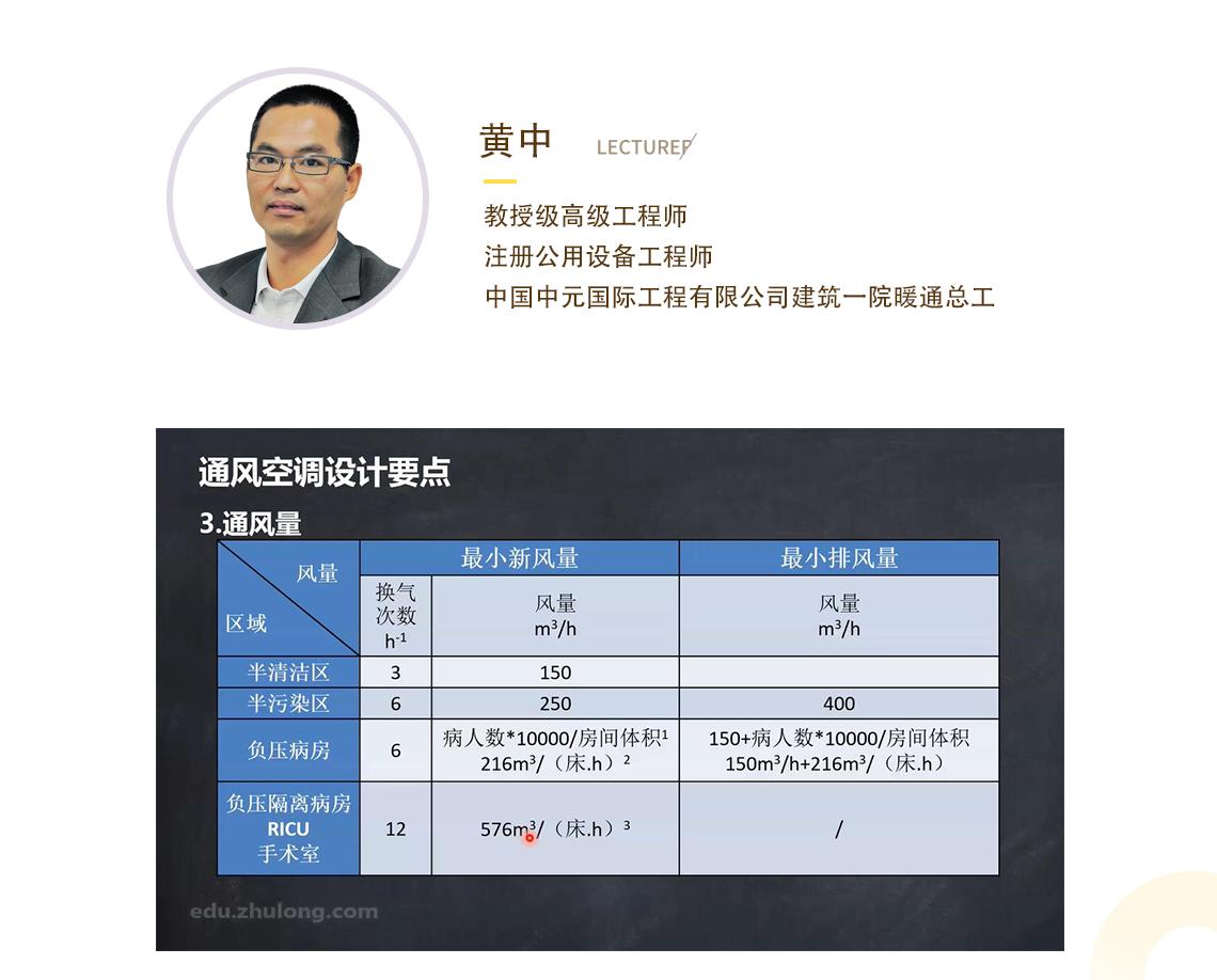 传染病区通风空调设计 黄中,教授级高级工程师 注册公用设备工程师 中国中元国际工程有限公司建筑一院暖通总工