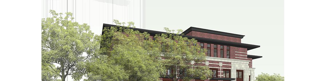 建筑立面设计,SU方案建模,计算机辅助设计课程案例为SU方案建模,新古典主义风格。