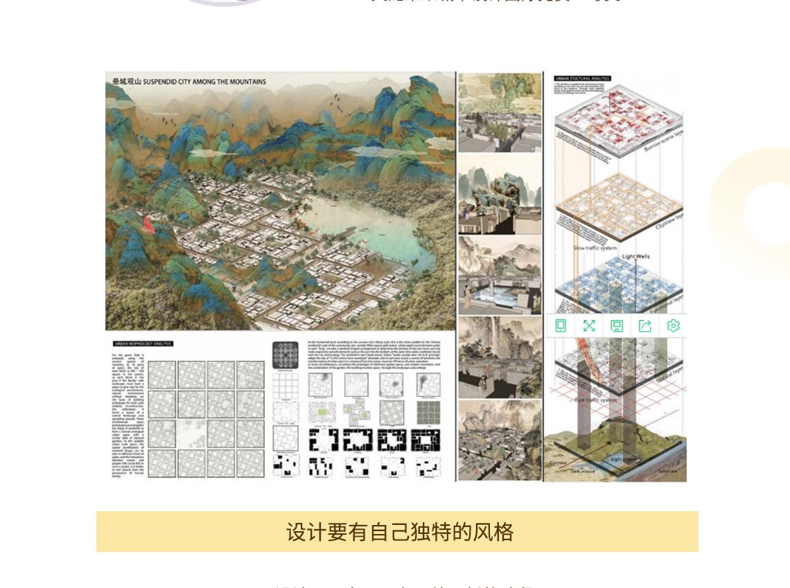 """让我带你画一遍  CBC义龙未来城市设计国际竞赛获奖作品  ——""""悬城观山""""2  建筑设计竞赛,建筑国际竞赛,课设作品集,考研出国工作文本"""