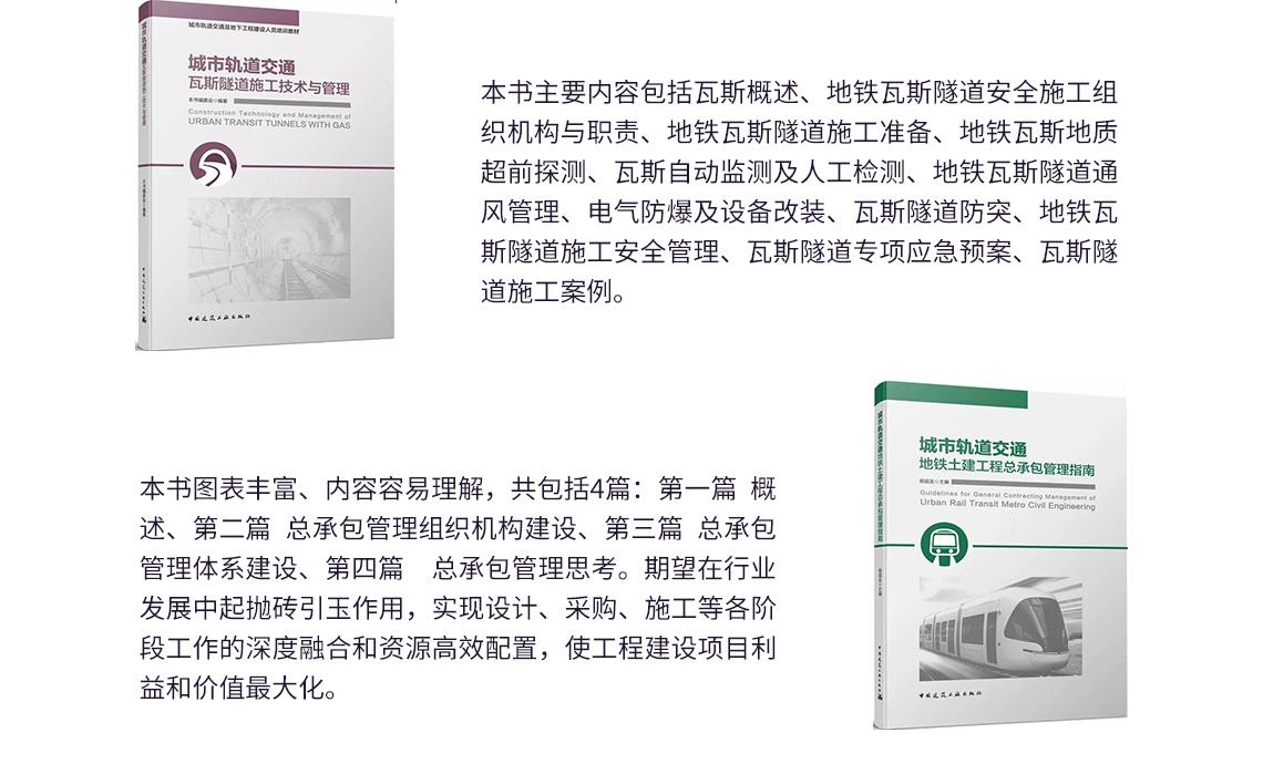 段军朝老师推荐给路桥从业者阅读的书籍《城市轨道交通瓦斯隧道施工技术与管理》、《城市轨道交通地铁土建工程总承包管理指南》