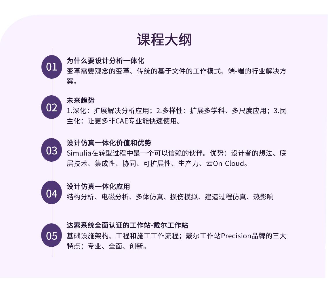 CATIA设计分析一体化课程大纲,共分为以下5个部分