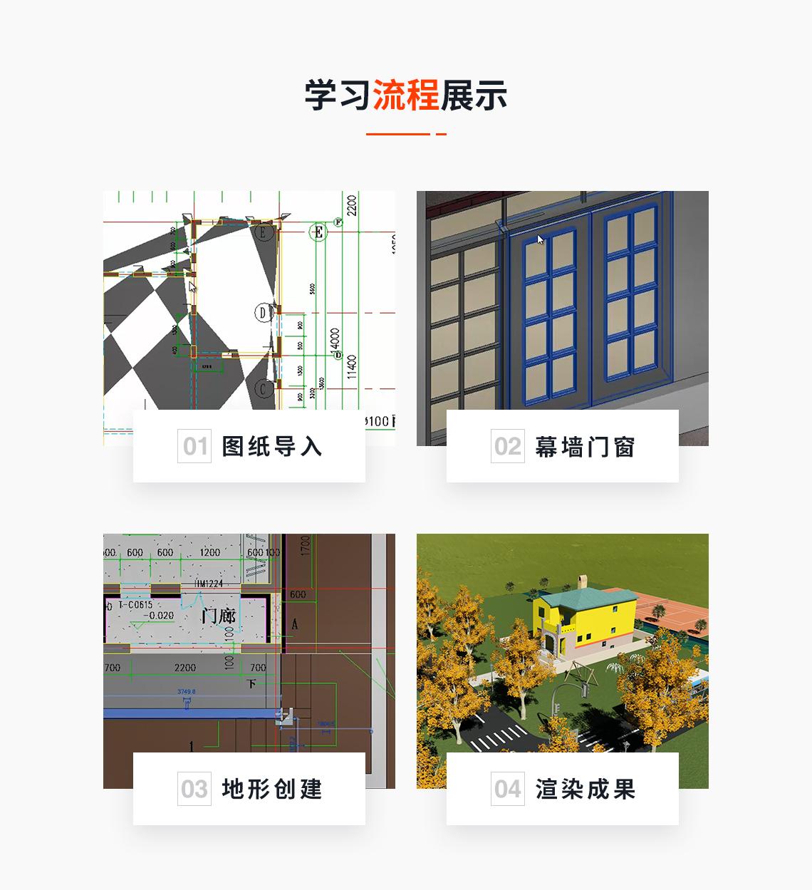 根据课程内容制定6次直播对应6次作业,作业内容包括:建筑模型制作,工程施工动画,施工工艺动画,动画后期处理。