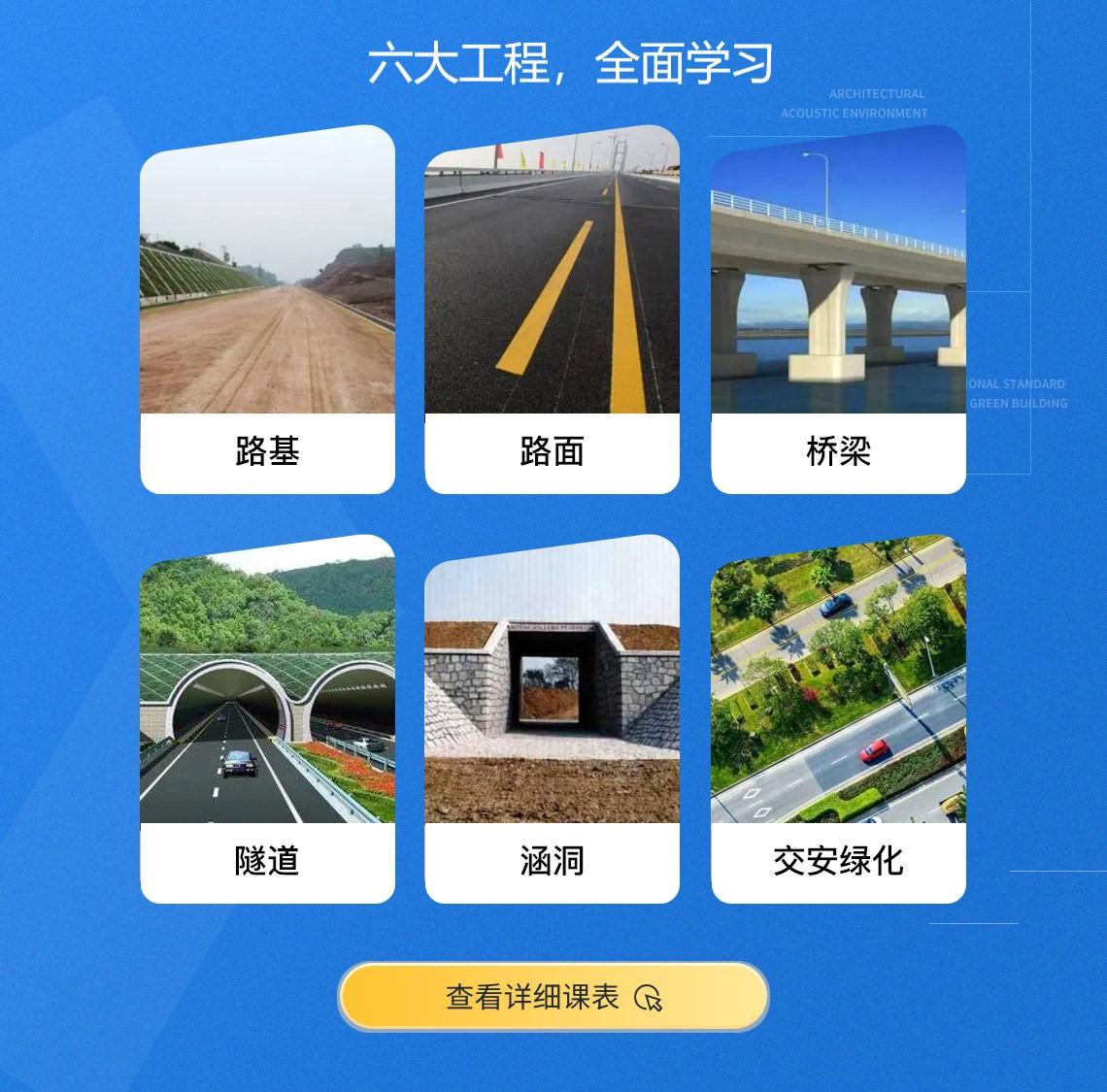 课程目录包括:路基工程、路面工程、桥涵工程、隧道工程、计量必备技能、同望纵横案例讲解等