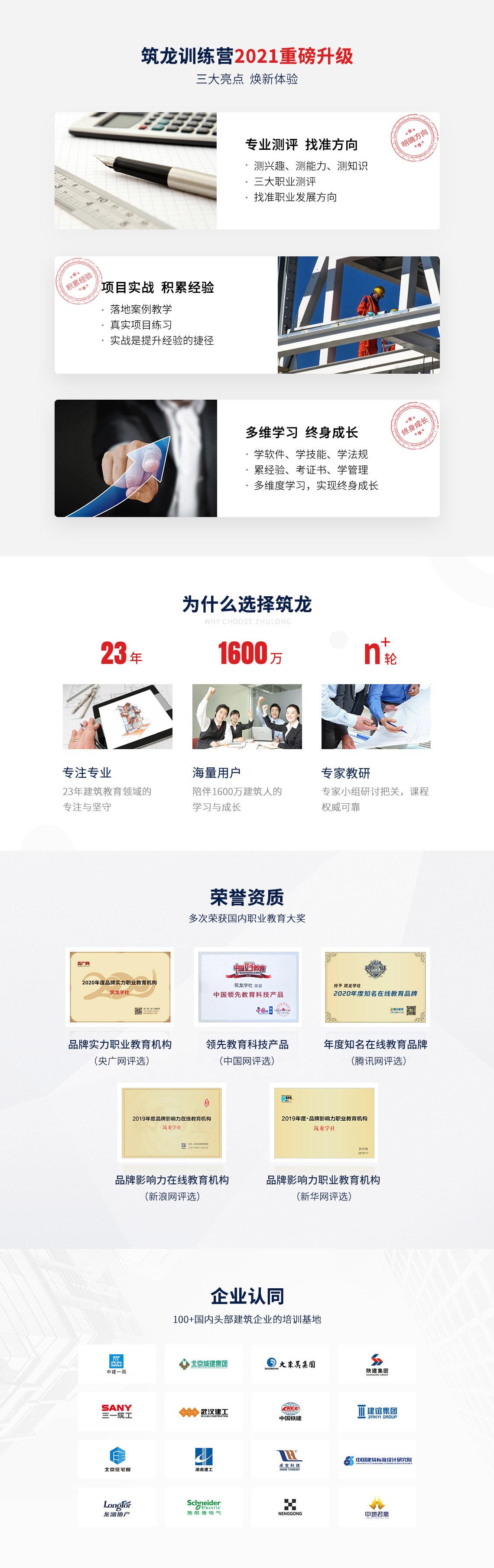筑龙学社多次荣获国内职业教育大奖,如新浪网品牌影响力在线教育机构、新华网品牌影响力职业教育机构的荣誉等。