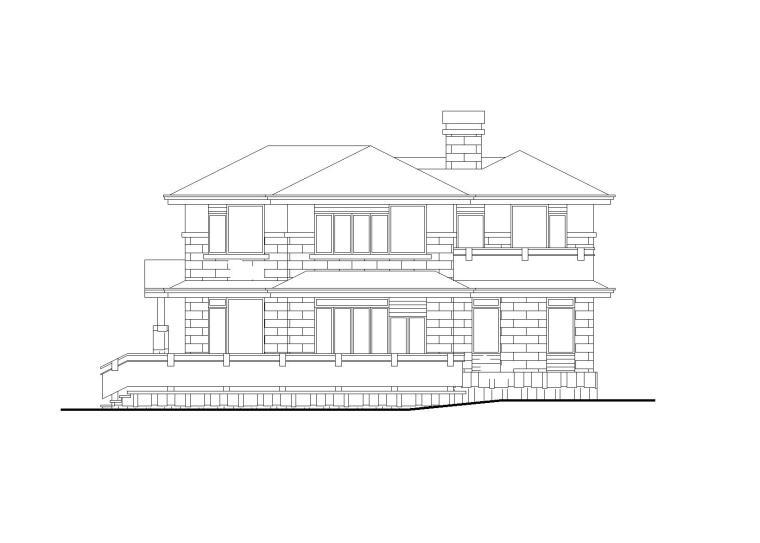 [学生作品]欧式风格别墅建筑施工图(CAD+效果图)