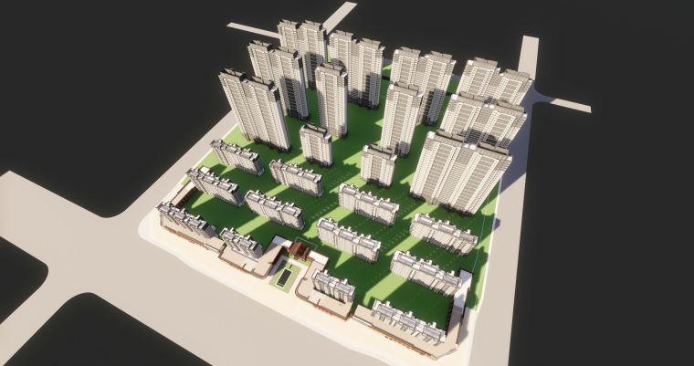 [江西]南昌知名地产金域国际居住区项目建筑模型(JHD建筑)-W 12