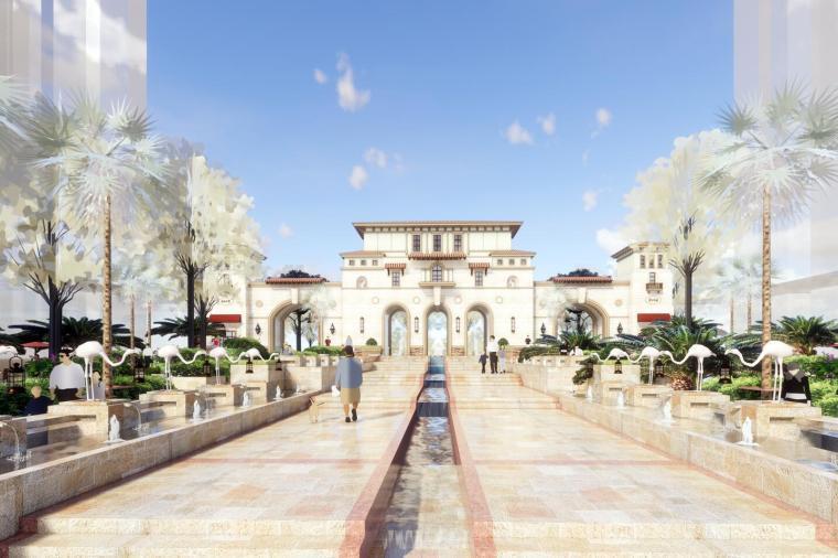 西班牙风格社区入口大门模型设计(2018年)