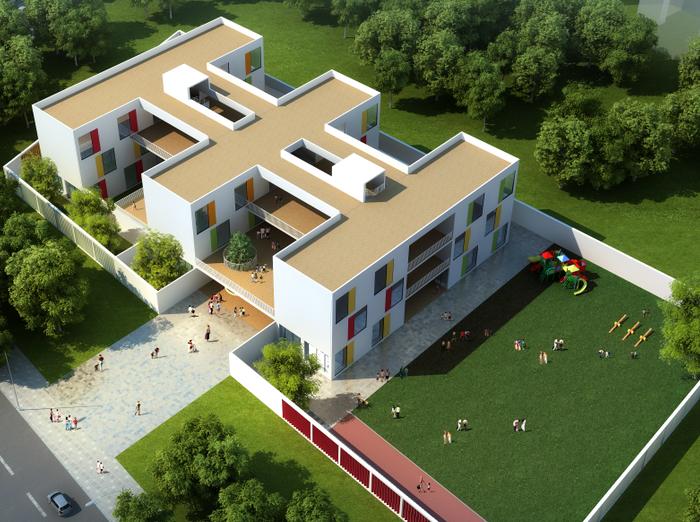 粉坊堰幼儿园建筑模型设计(SU+效果图)