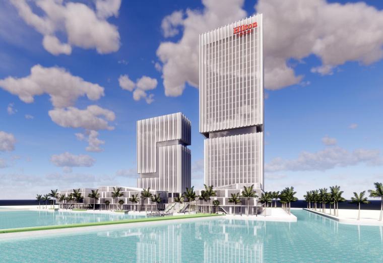 希尔顿酒店现代滨湖概念模型设计(2018年)