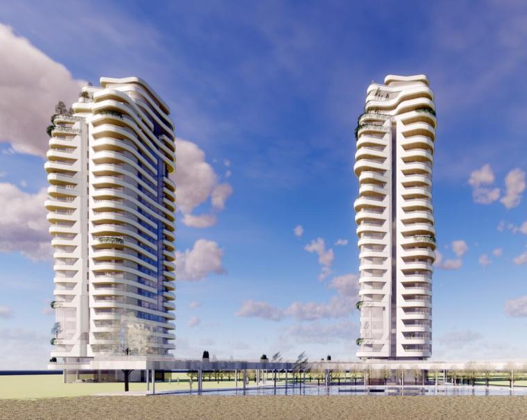 现代高层豪宅165+145曲面建筑模型设计(2018年)