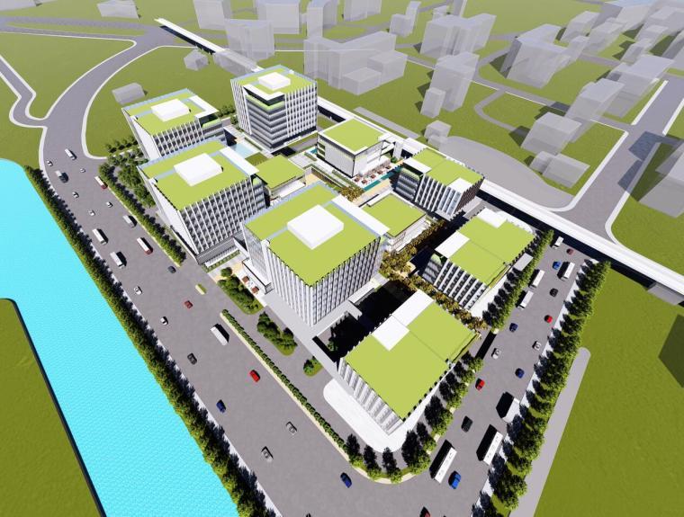 現代風格招商產業園建筑模型設計(2018年)