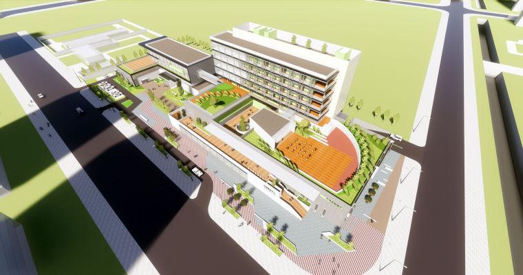 现代风格建筑模型设计(社区中心+敬老院方案)