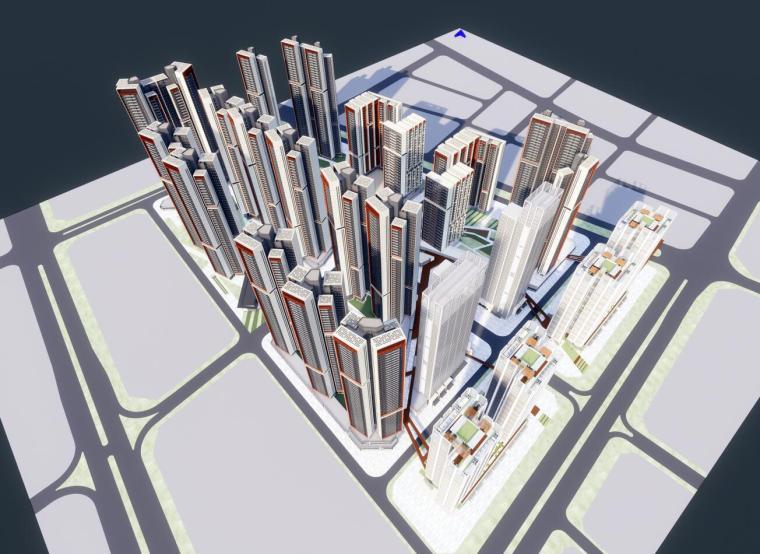 现代风格公寓写字楼+高层住宅建筑设计