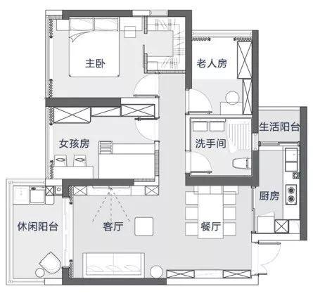 102平的现代轻奢风三居室,一家四口人这样住就好