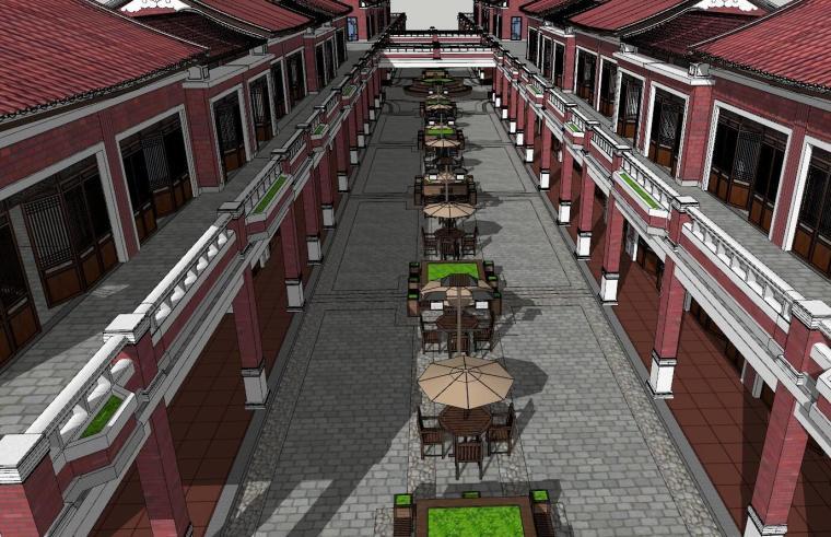 福建闽南风格商业街建筑模型设计