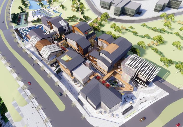 [重庆]江北嘴绿苑风情中式商业街建筑模型设计(2018年)