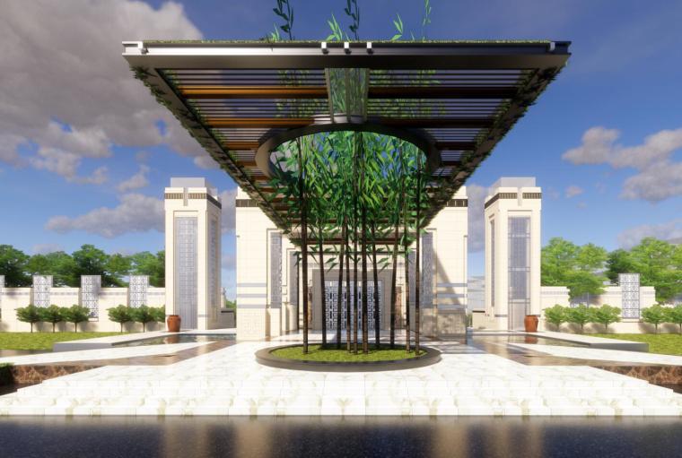 新古典风格会所示范区建筑模型设计(2018年)