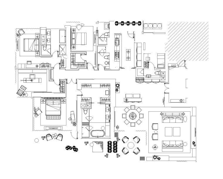 Yabu-广州珠江新城N5-1汇悦台三居室样板房室内装修施工图+设计方案