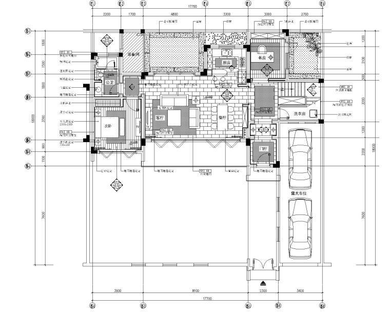 内建筑-安吉绿城桃花源中式风格别墅室内装修施工图+效果图