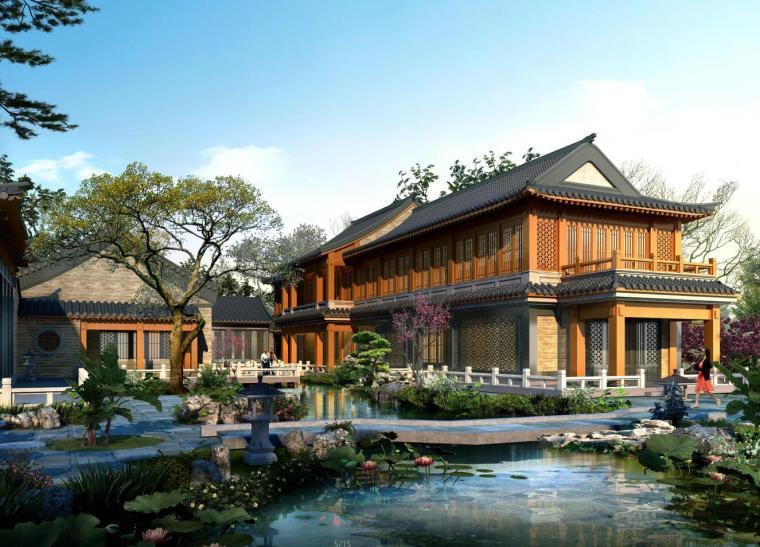 王府合院中式千平豪宅别墅模型设计(2018年)