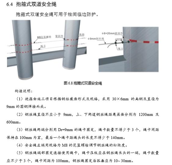施工现场安全文明标准化手册(137页,图文并茂)-抱箍式双道安全绳