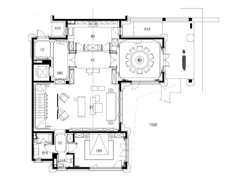 香港无间-北京旭辉一合相府园文化别墅样板间CAD施工图