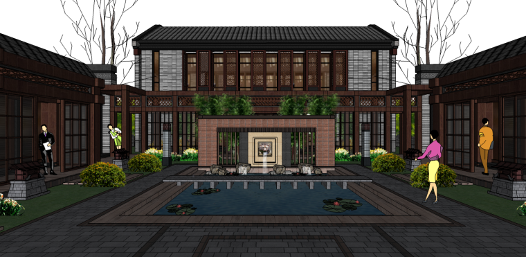 新中式民宿小院建筑景观su模型