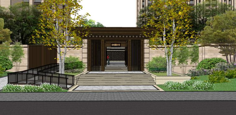 71套新中式景观大门及景观入口SU模型(1-20套)