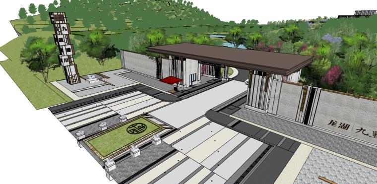 71套新中式景观大门及景观入口SU模型(21-40套)