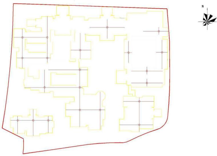 91楼层内平面控制网布置示意图