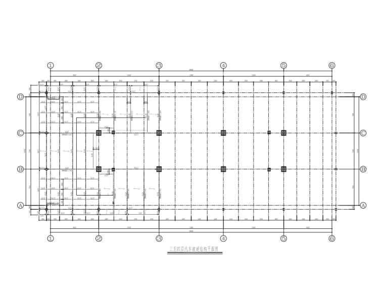 3-4层汽车坡道结构平面图