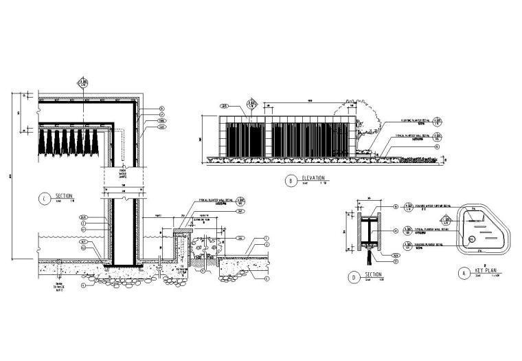 景观细部施工图——水幕瀑布施工图设计