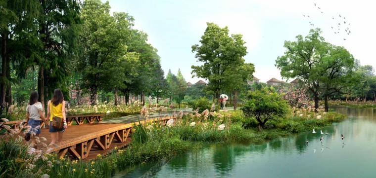 景观ps素材|2张滨水景观,木栈道效果图psd分层源文件