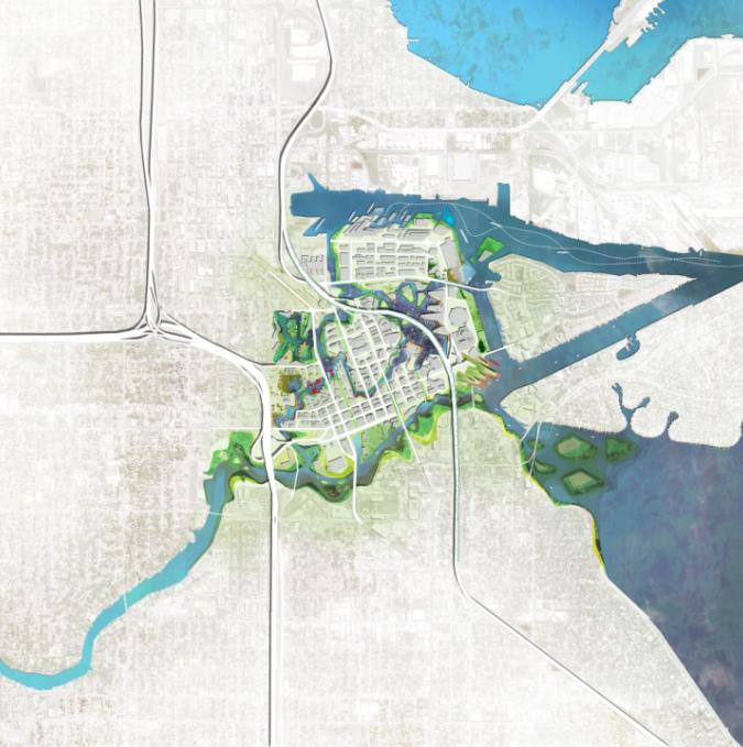 景观ps素材|高清滨水景观PSD总平面图